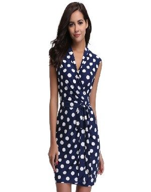 Short Evening Sundress Blue & White Polka Dots