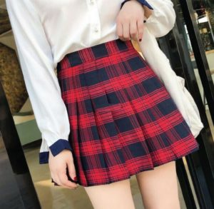 Taylory Valhalla's® Welcome to The U.S.V. Skirt Collection Tennis High Waist Skater Plaid Skirts Red
